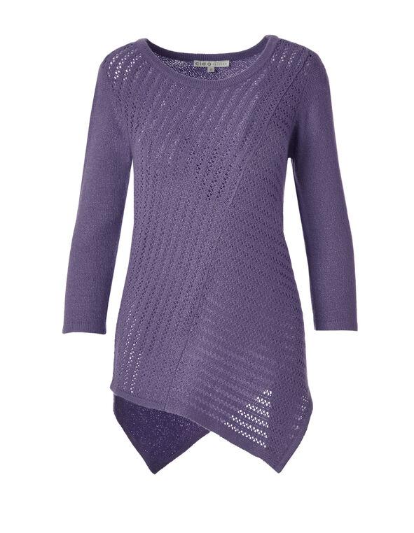 Knit Asymmetrical Sweater, Purple Haze, hi-res