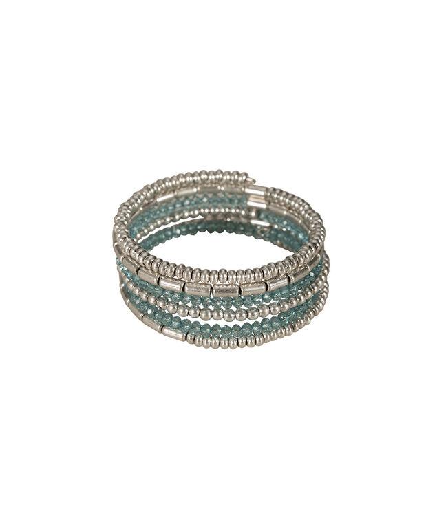 Bead Wrap Bracelet, Teal/Burnished Silver, hi-res