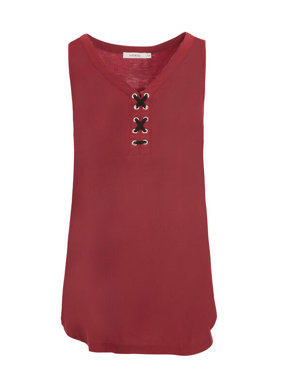 Lace Up Tank, Deep Red, hi-res