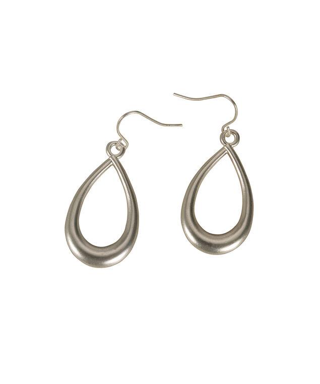 Matte Teardrop Earring, Matte Rhodium, hi-res