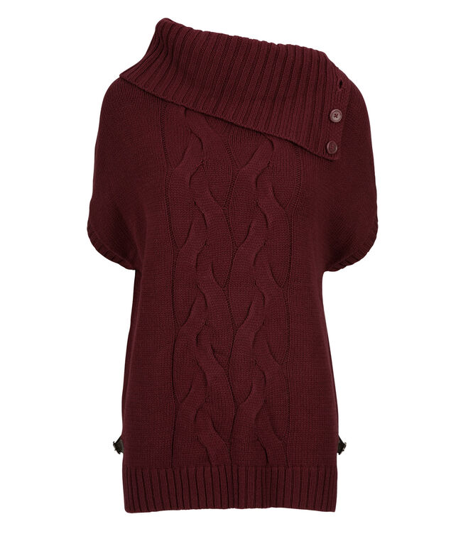 Button Cowl Cable Sweater, Burgundy, hi-res