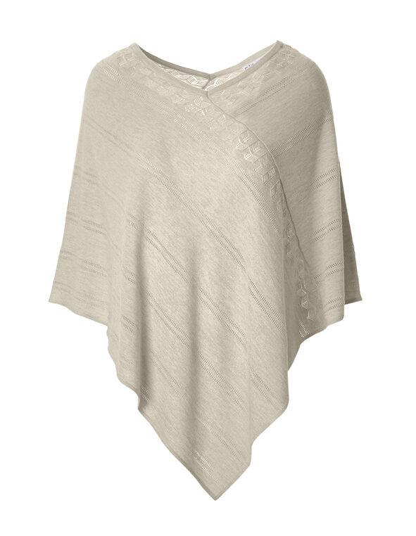 Stone Poncho Sweater, Stone Melange, hi-res