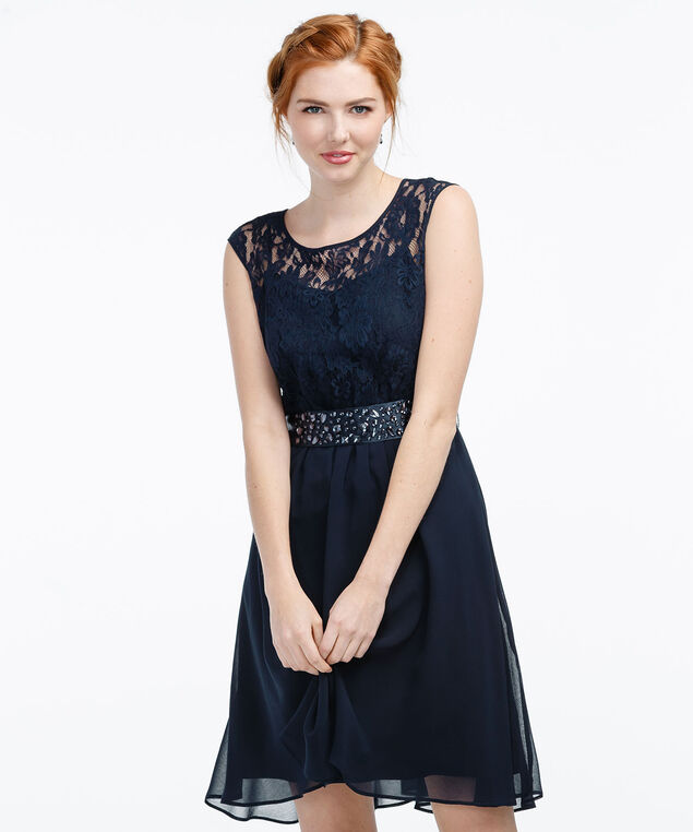 Lace Bodice Dress, Navy Blue, hi-res