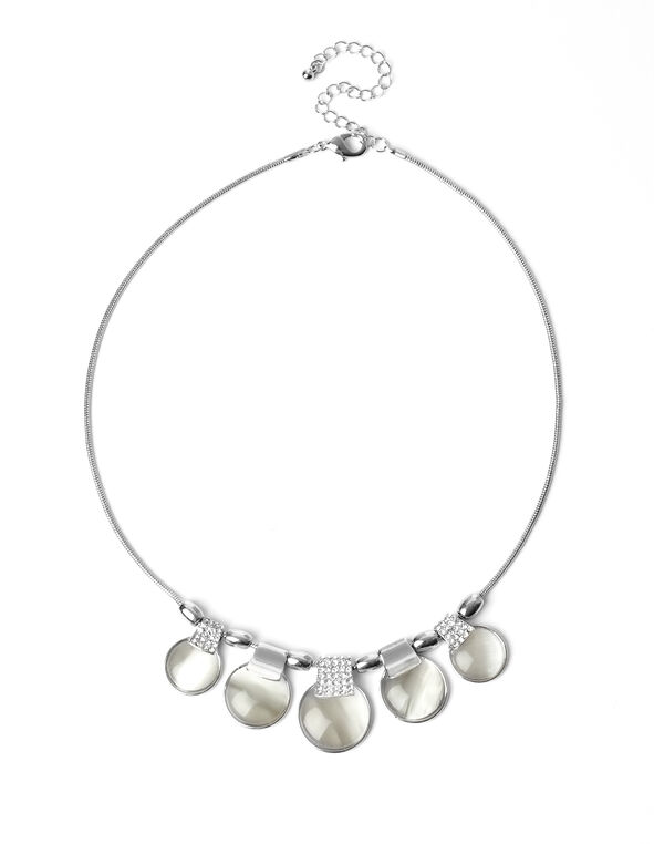 Crystal Cats Eye Necklace, Ivory/Rhodium, hi-res