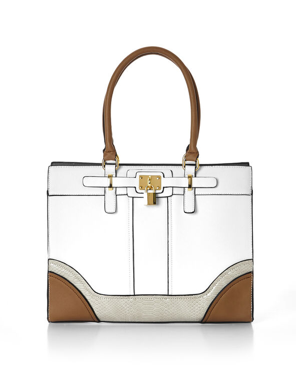 Structured Lock Handbag, White/Stone/Brown, hi-res