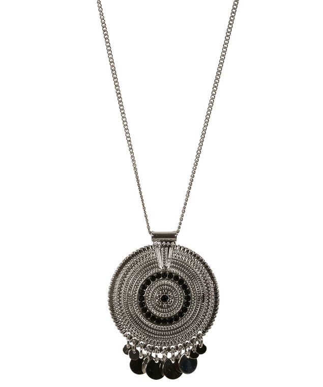 Metal Circle Pendant Necklace, Black/Rhodium, hi-res