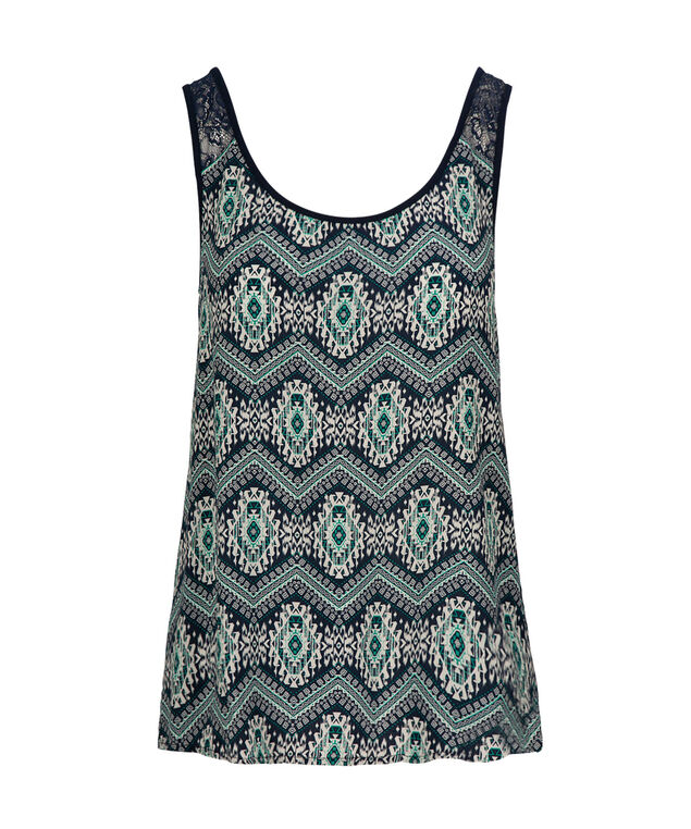 Crochet Trim Tank, Green Print, hi-res