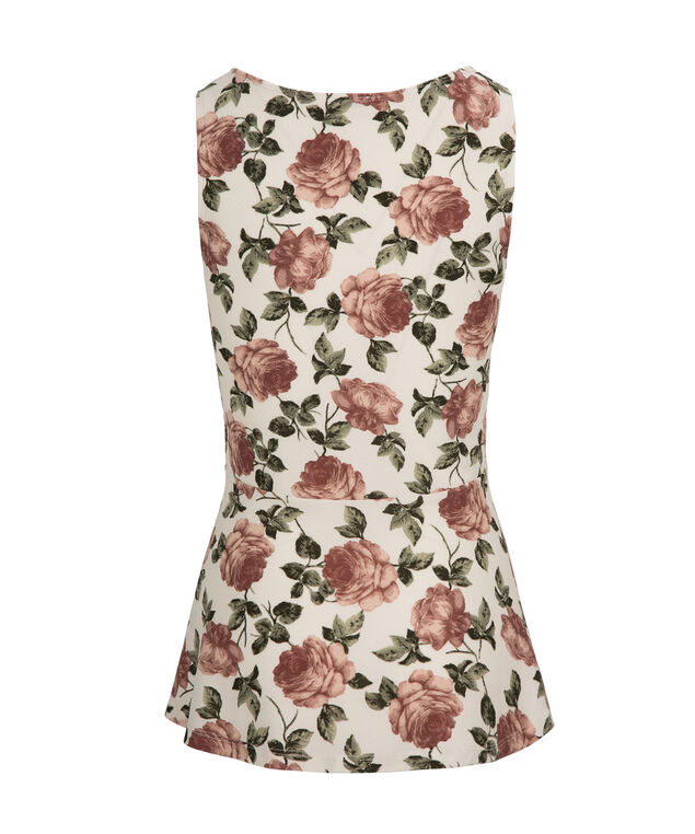 Rose Peplum, White Print, hi-res
