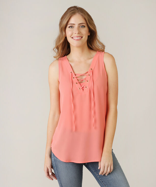 lace up top - wb, PEACH, hi-res
