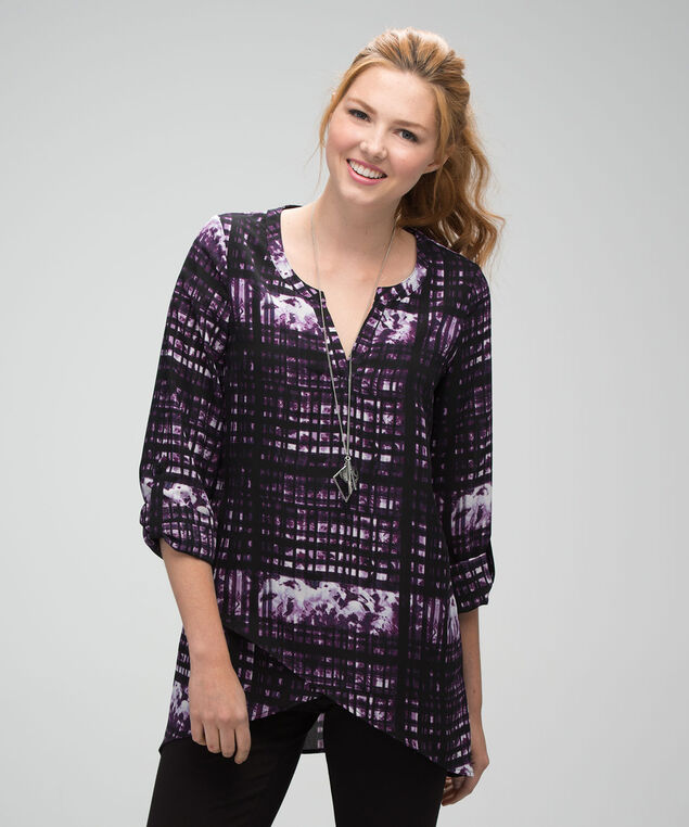 Criss Cross Tunic Blouse , Dark Plum Print, hi-res