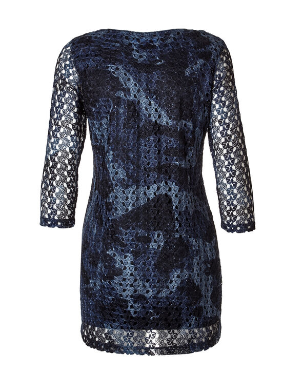 3/4 Sleeve Crochet Tunic, Navy/Washed Blue, hi-res
