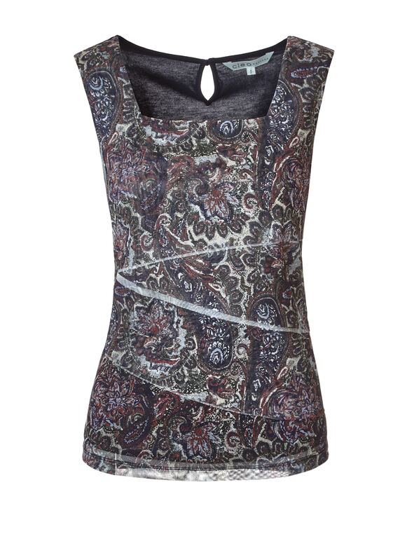 Paisley Rumba Front Top, Navy/Clay/Stone/Olive, hi-res