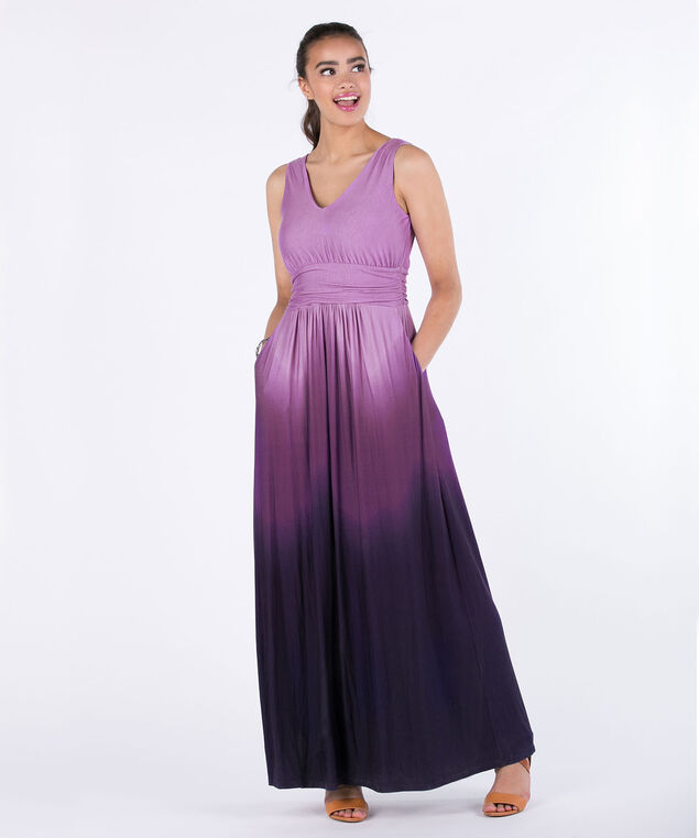 Ruched Waist Ombre Maxi Dress, Purple Ombre, hi-res