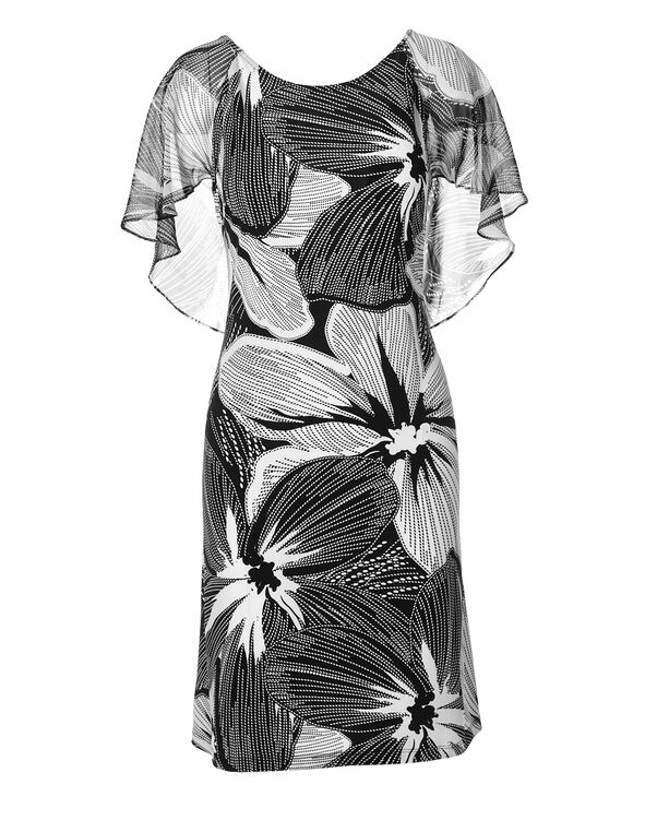 Black Tropical Ruffle Dress, Black/White, hi-res