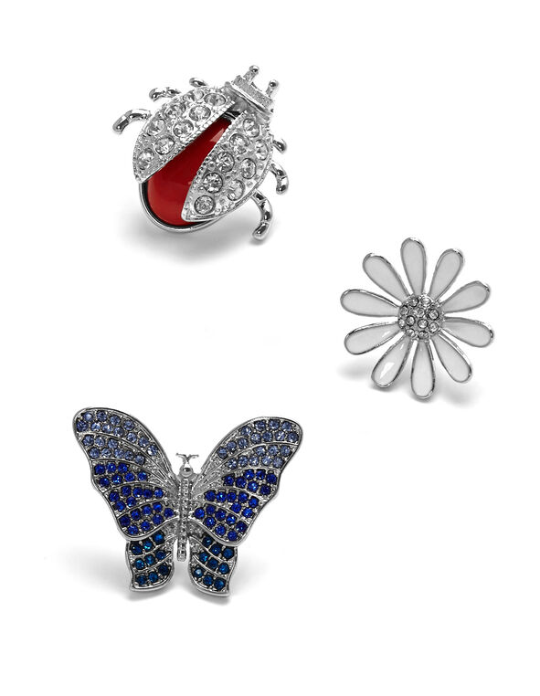 Silver Spring Jewel Pin Set, Silver, hi-res