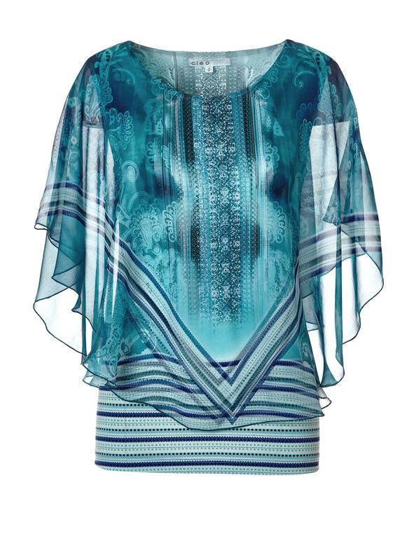 Blue Print Caftan Blouse, Blue/Turquoise/White, hi-res