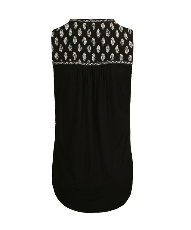 Embroidered Henley Tank, Black Pattern, hi-res