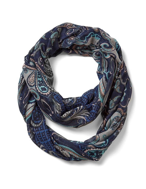 Blue Paisley Loop Scarf, Blue/Soft Pink/White, hi-res