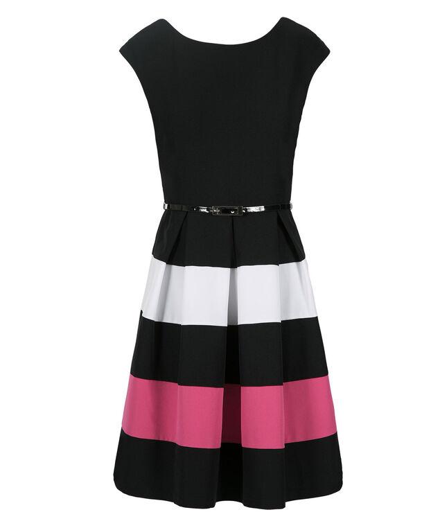 Colourblock Stripe Dress, Black/White/Pink, hi-res