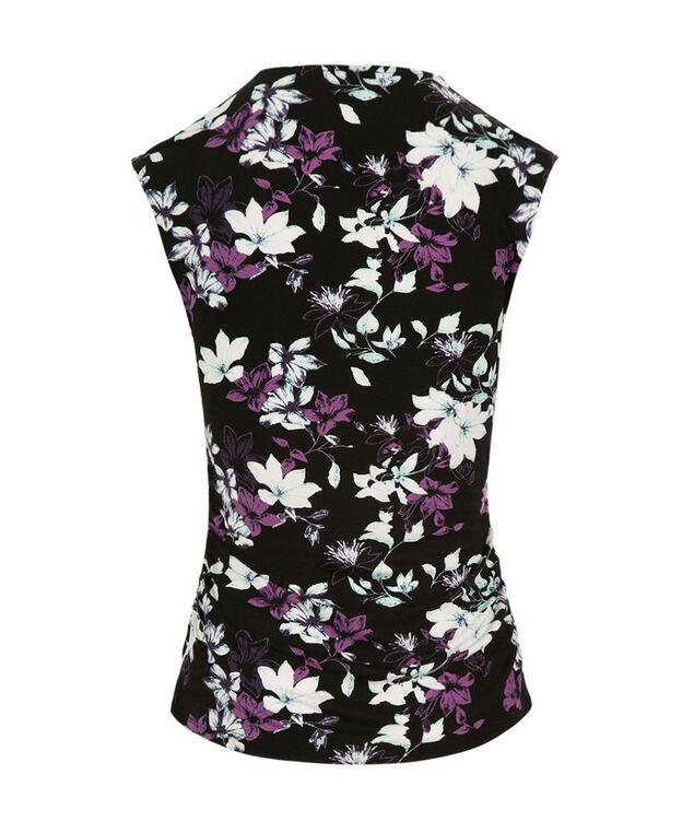 V-neck Ruched Top, Black Pattern, hi-res