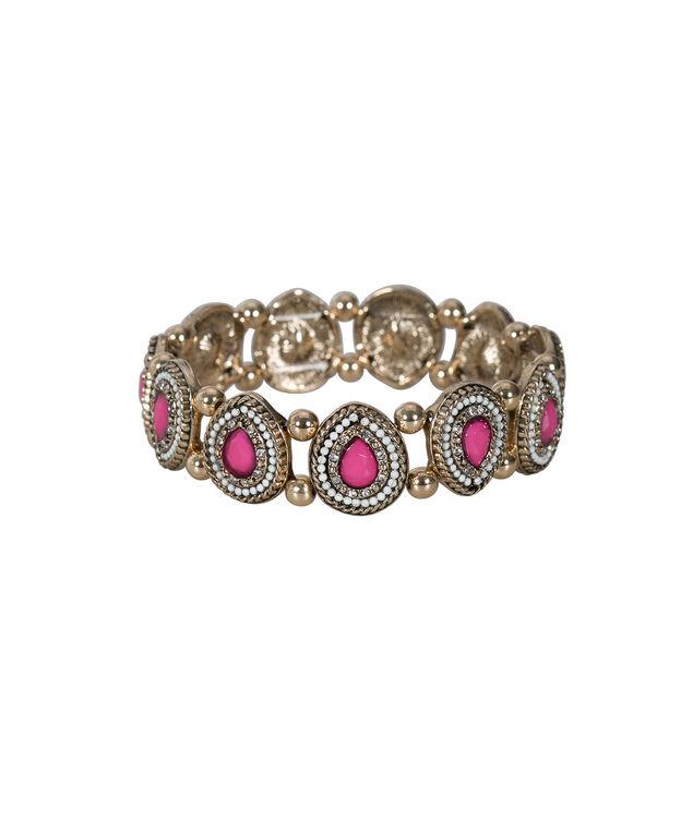 Tear Shaped Stretch Bracelet, Vibrant Pink/Antique Gold, hi-res
