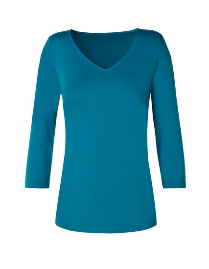 3/4 Sleeve V-Neck Tee, Teal, hi-res