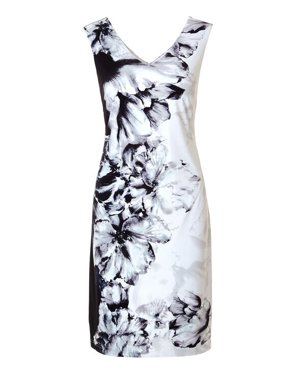 Black Floral Print Shift Dress, Black/White/Mint, hi-res
