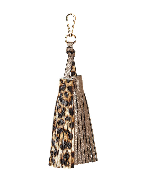 Leopard and Gold Tassel Charm, Gold, hi-res
