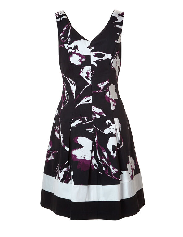 Black Fit and Flare Dress, Black/White/Bordeaux, hi-res