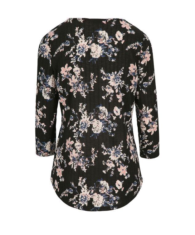 3/4 Sleeve Zip Top, Grey Print, hi-res