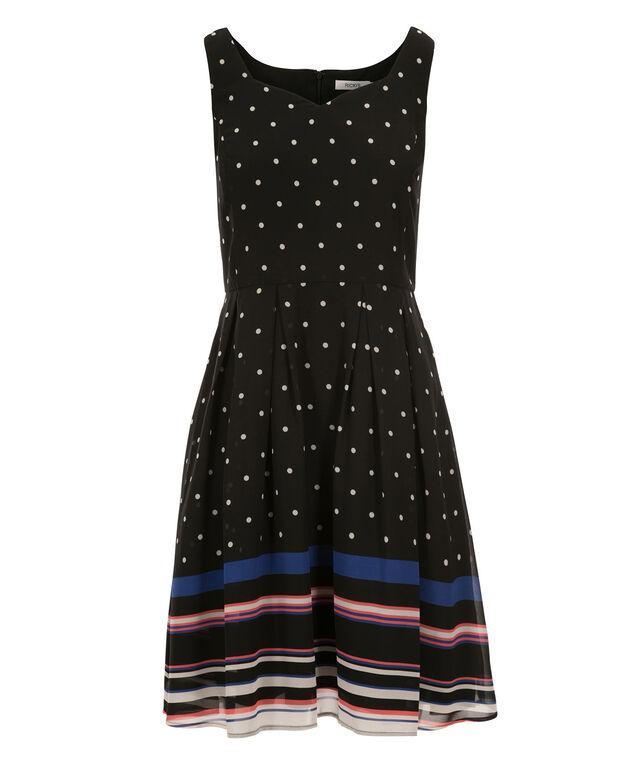 Stripe Border Print Dress, Black Print, hi-res