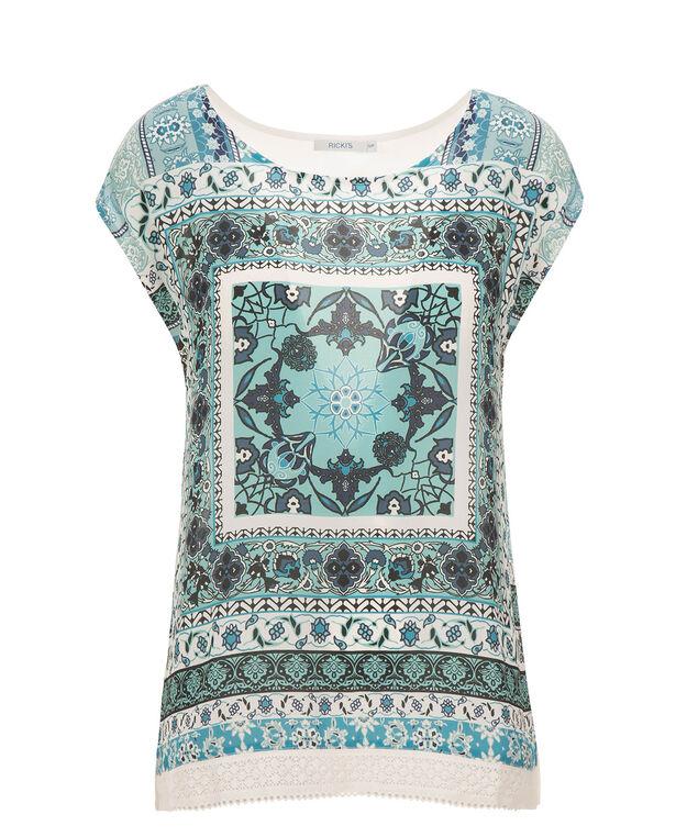 Extended Sleeve Crochet Hem, Lagoon Print, hi-res