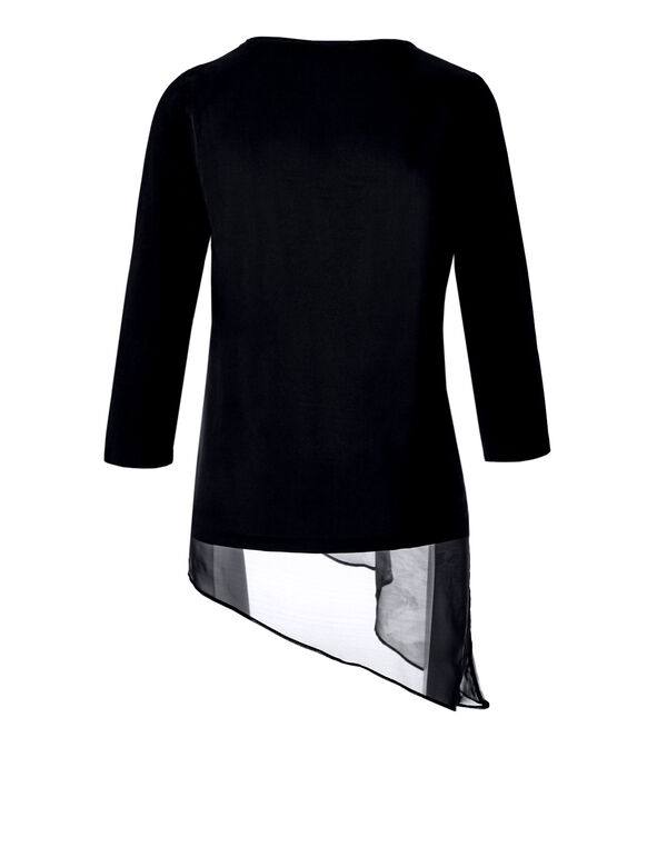 Asymmetrical Chiffon Top, Black/Ivory, hi-res