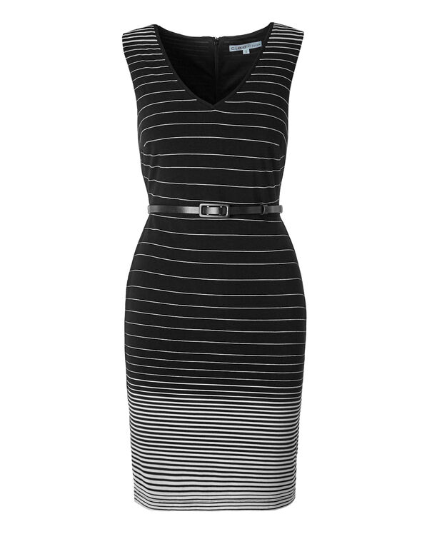 Variegated Stripe Shift Dress, Black/Ivory, hi-res