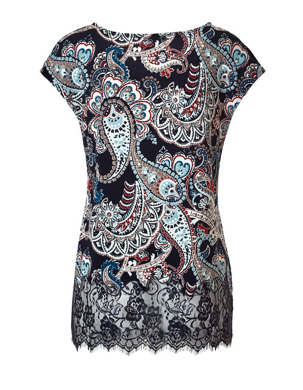 Paisley Lace Hem Top, Navy/Chili/Turquoise, hi-res
