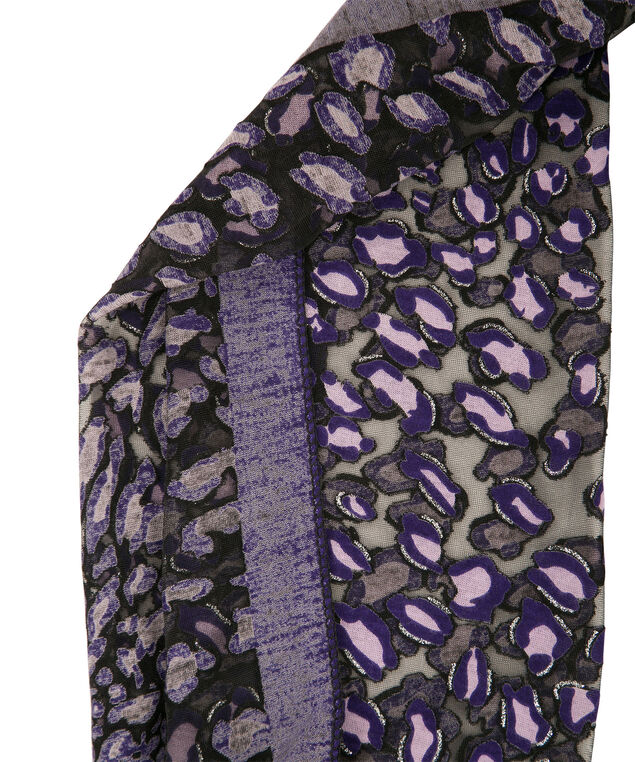 Animal Print Scarf, Purple/Black/Silver, hi-res