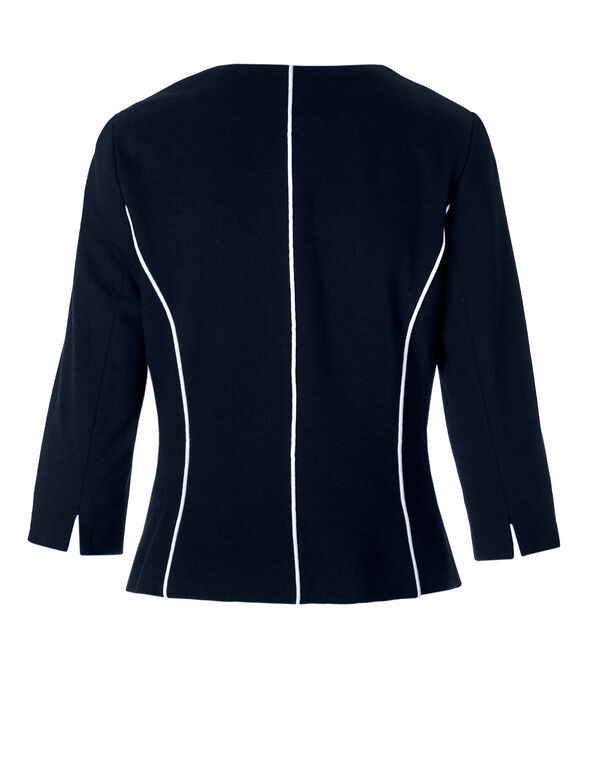 Navy 3/4 Sleeve Zipper Blazer, Navy, hi-res