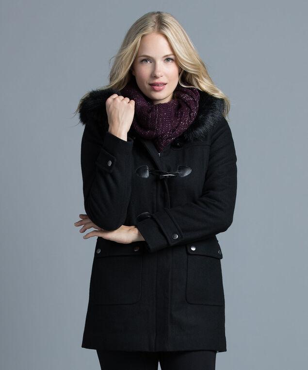 Fur Trim Toggle Coat , Black, hi-res