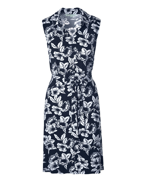 Navy Floral Shirt Dress, Navy/White, hi-res