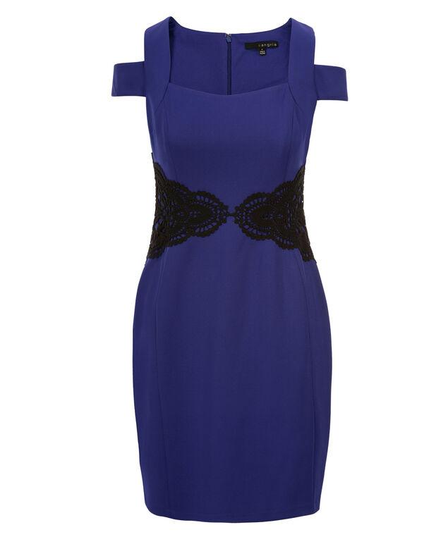 Cold Shoulder Lace Sheath Dress, Cobalt/Black, hi-res