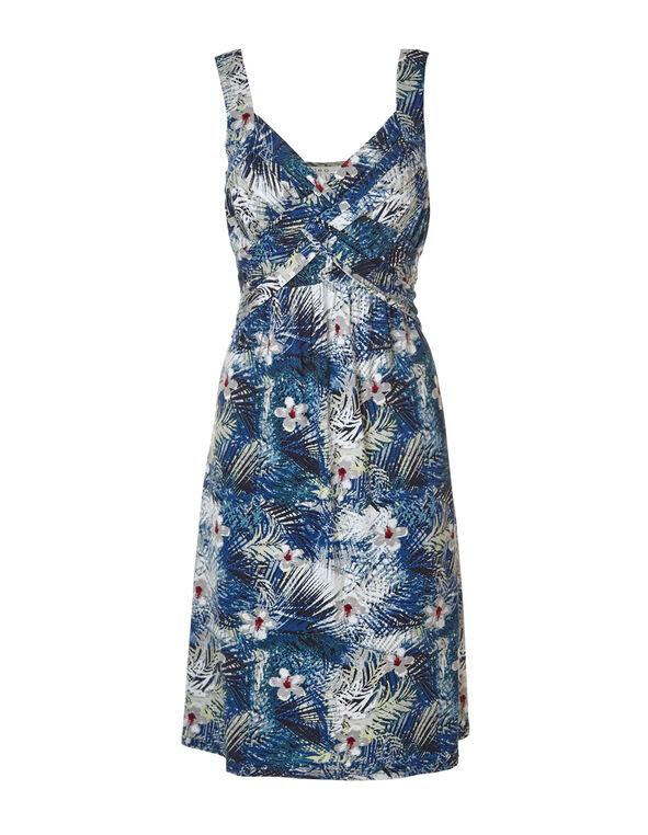 Tropical Criss-Cross A-Line Dress, Blue/Green/Stone, hi-res