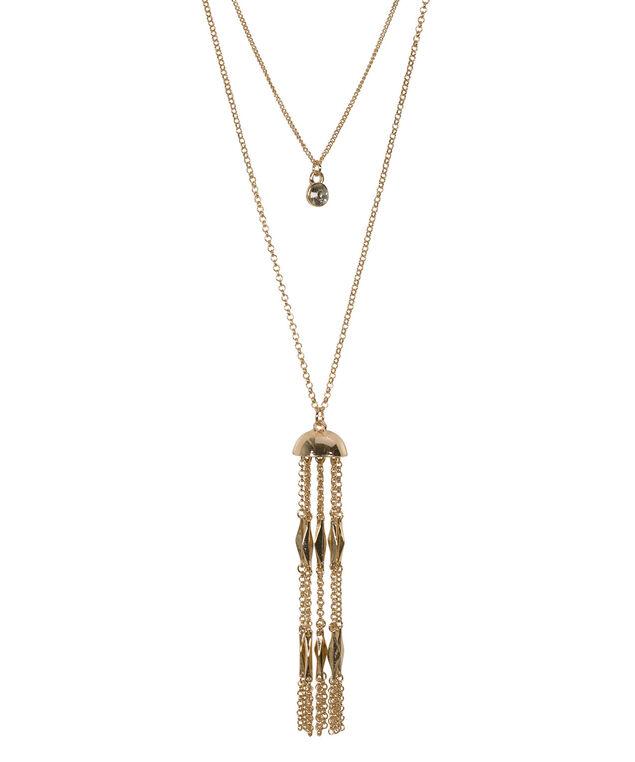 Chain Tassel Pendant Necklace, Antique Gold, hi-res