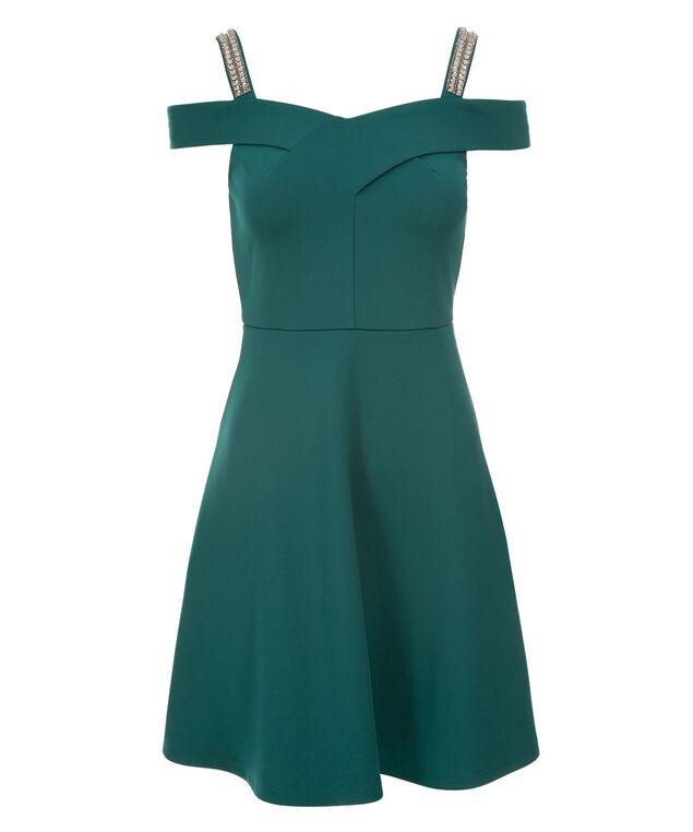 Off The Shoulder Dress, Dark Green, hi-res