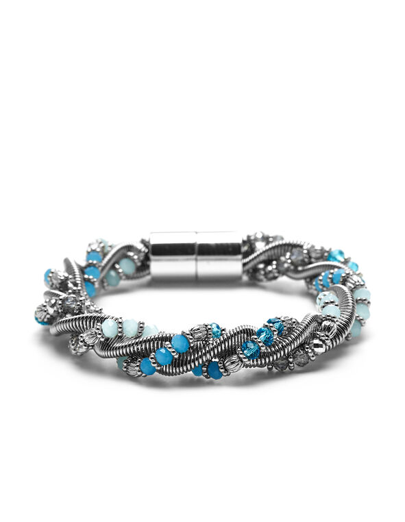 Turquoise Silver Twist Bracelet, Silver/Turquoise, hi-res