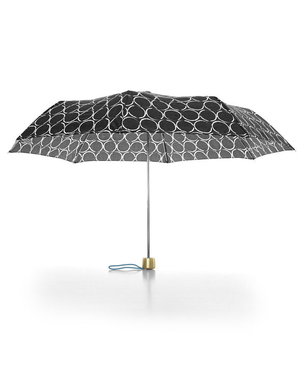 White Circle Printed Umbrella, Black/White, hi-res