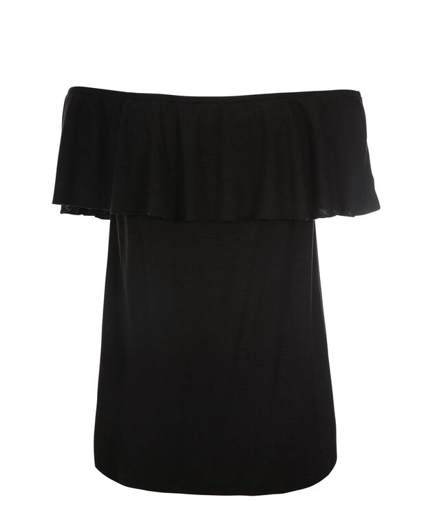 Off Shoulder Ruffle, Black, hi-res