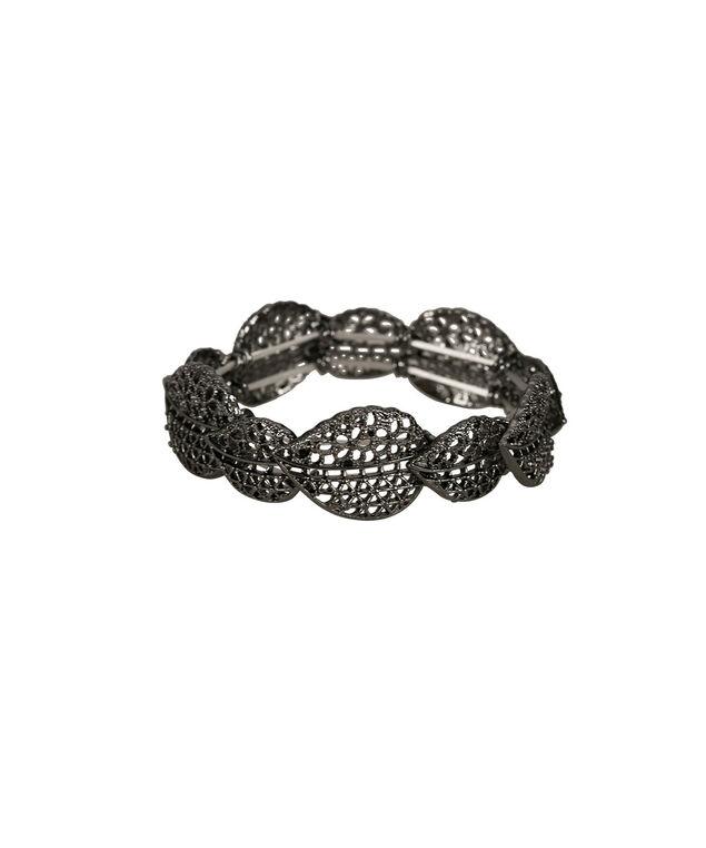 Textured Leaf Stretch Bracelet, Hematite, hi-res