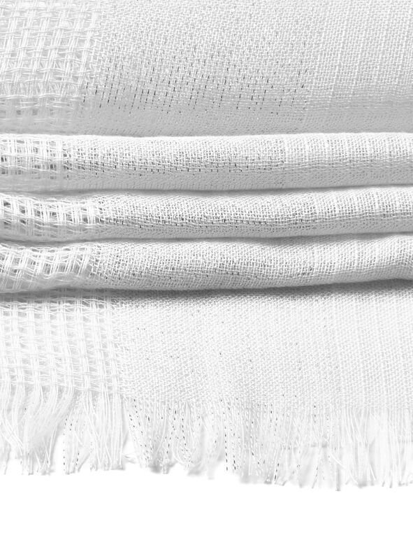 White Waffle Knit Scarf, White, hi-res