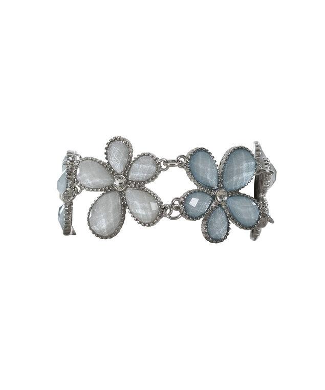 Gem Flower Bracelet, Misty Blue/Rhodium, hi-res