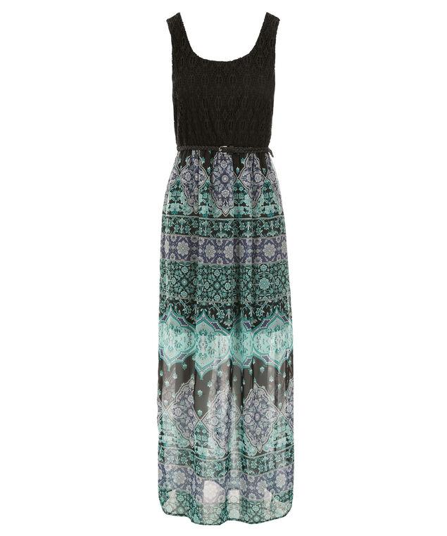 Woven Skirt Maxi Dress, Black/Mint Print, hi-res